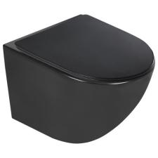 Kerra Delos BLM fali rimless WC soft-close ülőkével, fekete fürdőszoba kiegészítő