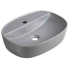 Kerra KR-860 kerámia design mosdó, ovális, 50,5x38x12 cm, matt szürke fürdőszoba kiegészítő
