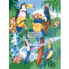 Kifestő készlet akrilfestékkel, ecsettel, gyerekeknek 8 éves kortól - 20x25 cm - Trópusi madarak