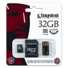 Kingston Memóriakártya, Micro SDHC, 32GB, Class 10, SD+USB adapterrel, KINGSTON