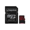 Kingston Memóriakártya MicroSDXC 256GB Canvas React 100R/80W U3 UHS-I V30 A1 + Adapter