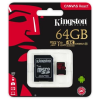 Kingston Memóriakártya, microSDXC, 64GB, C10/U3/V30/A1, 100/80 MB/s, adapter, KINGSTON