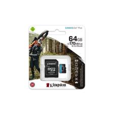 "Kingston Memóriakártya, microSDXC, 64GB, C10/UHS-I/U3/V30/A2, adapter, KINGSTON ""Canvas Go! Plus"" memóriakártya"