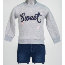 Kislány szett - Szürke pulcsi, kék nadrággal
