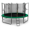 KLARFIT Rocketstart 366, 366 cm trambulin, belső biztonsági háló, széles létra, zöld