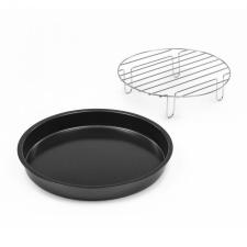 Klarstein AeroVital Cobe Chef, pizzatányér, magas feltét grillezéshez, tartozék, nemesacél tányér és evőeszköz
