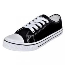 Klasszikus női alacsony szárú fűzős vászon tornacipő méret 36 fekete női cipő