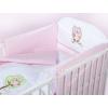 Klups 3 részes ágynemű fehér-pink baglyos