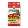 """KOH-I-NOOR Színes ceruza készlet, háromszögletű, vastag,  """"Triocolor Lovas 3142/12"""", 12 különböző szín"""