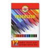 """KOH-I-NOOR Színes ceruza készlet, henger alakú, famentes,  """"Progresso 8756/12"""", 12 különböző szín"""