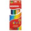 """KORES Színes ceruza készlet, háromszögletű, KORES """"Triangular"""", 12 különböző szín (IK100312)"""