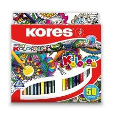 """KORES Színes ceruza készlet, háromszögletű, KORES """"Triangular"""", 50 különböző szín színes ceruza"""