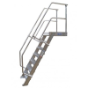 KRAUSE - Ipari lépcső dobogóval 600mm 45° bordázott alu fokkal 11 fokos