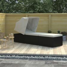 Krémfehér polyrattan napozóágy ponyvával és párnával kerti bútor