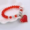 Kristálygömbökkel díszített Shambhala gyöngy karkötő szívvel, piros