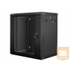 Lanberg 19'' fali rack szekrény 12U 600x450mm fekete (üvegajtó)