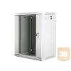 Lanberg 19'' fali rack szekrény 15U 600x450mm szürke (üvegajtó)