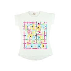 Lányka többszínű flitteres rövid ujjú póló #bézs (méret:128-164)