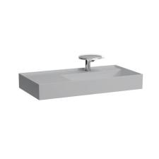 Laufen Mosdó, polcfelület bal oldalon, speciálisan fedett lefolyóval túlfolyónyílás nélkül, egy csaplyukkal , Matt szürke H8103397591111 fürdőszoba kiegészítő
