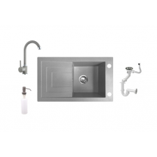 Laveo Jawa Gránit mosogató + Csaptelep + Adagoló (szürke) fürdőkellék