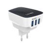 LDNIO USB HUB 5 V gyors töltő 3 USB csatlakozóval 3,4 A, Fekete-Fehér