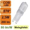 LED lámpa G9 (COB LED/2,5Watt/270°) meleg fehér