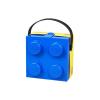 LEGO Tároló doboz 2x2-es, szendvics tartó doboz, kék színben, füllel - 166x165x117mm