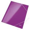 Leitz Gumis mappa, 15 mm, karton, A4, lakkfényű, LEITZ Wow, lila (E39820062)