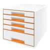 """Leitz Irattároló, műanyag, 5 fiókos,  """"Wow Cube"""", fehér/narancssárga"""