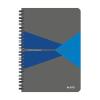 """Leitz """"Office"""" 90 lap A5 szürke-kék PP borító kockás spirálfüzet"""