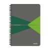 """Leitz """"Office"""" 90 lap A5 szürke-zöld PP borító vonalas spirálfüzet"""