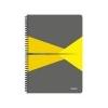 Leitz Spirálfüzet, A4, kockás, 90 lap, laminált karton borító, LEITZ Office, szürke-sárga