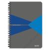 """Leitz Spirálfüzet, A5, kockás, 90 lap, PP borító, LEITZ """"Office"""", szürke-kék (E44980035)"""