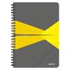 """Leitz Spirálfüzet, A5, vonalas, 90 lap, laminált karton borító, LEITZ """"Office"""", szürke-sárga (E44590015)"""