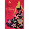 Leykam Alpina (BSB) BSB képeslap, Happy Birthday, piros, női alak virággal (állvány)