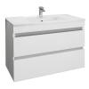 Leziter Cube 80 alsó fürdőszobabútor kerámia mosdóval 2 fiókos, magasfényű festett fehér