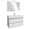 Leziter Cube Fürdőszobabútor 80 cm kerámia mosdóval (2 fiókos) ledes tükörrel 60x80 cm magasfényű festett fehér