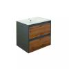 Leziter Porto 60 alsó fürdőszoba bútor mosdóval antracit-country tölgy színben
