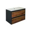 Leziter Porto 80 alsó fürdőszoba bútor mosdóval antracit-country tölgy színben