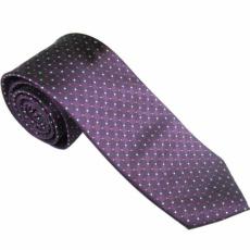 Lila színű, fehér - rózsaszín apró pöttyös nyakkendő