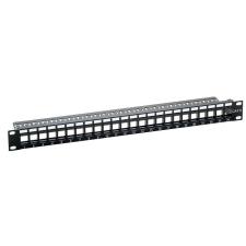 LogiLink - Keystone patch panel; 24 portos; árnyékolatlan; fekete kábel és adapter