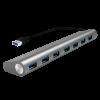 LogiLink - USB 3.0 hub; 7 port with card reader; aluminum casing; grey
