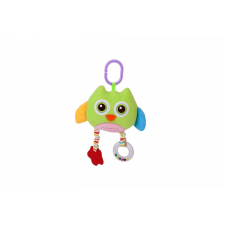 Lorelli Toys plüss játék tükörrel és rágókával - zöld bagoly plüssfigura