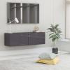 Magasfényű szürke forgácslap TV-szekrény 100 x 30 x 30 cm