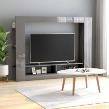 Magasfényű szürke forgácslap TV-szekrény 152 x 22 x 113 cm bútor