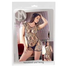 Mandy Mystery - lyukacsos-hálós rövidujjú necc ruha tangával (fekete) body