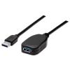 MANHATTAN USB 3.0 hosszabbító kábel, 5 m, aktív, MANHATTAN