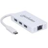 MANHATTAN USB elosztó-HUB, USB-C csatlakozás, 3xUSB 3.0, Gigabit Ethernet adapter, MANHATTAN, fehér
