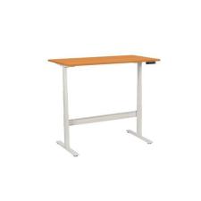 Manutan irodai asztal, elektromosan állítható magasság, 140 x 80 x 62,5 - 127,5 cm, egyenes kivitel, ABS 2 mm, bükk irodabútor