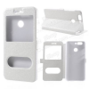 Mûanyag védõ tok / hátlap - FEHÉR - oldalra nyíló s-view cover flip, asztali tartó funkció, mágneses záródás, hívásfelvétel - HUAWEI nova 2 Plus